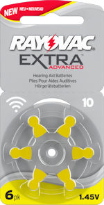 10AE (YELLOW tab) hearing aid batteries. 