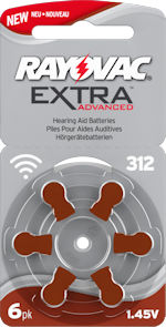 312AE (BROWN tab) hearing aid batteries. 