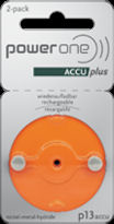 Power One Accu Plus 13 Rechargeable Hearing Aid Batteries