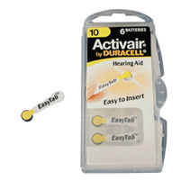 Duracell Activair DA10 (Yellow Tab) 100 mAh hearing aid batteries. 1.45v Easy Tab Packs.