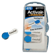 Duracell Activair DA675 (Blue Tab) 650 mAh hearing aid batteries 1.45v Easy Tab Packs